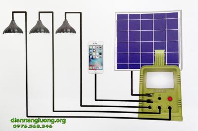 Máy Phát Điện Năng Lượng Mặt Trời 42W-H Kèm 3 Đèn Led