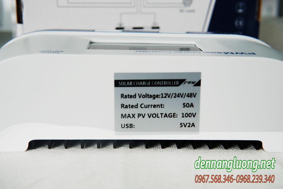 Bộ điều khiển sạc năng lượng mặt trời 50A PWM chính hãng - PWM50A