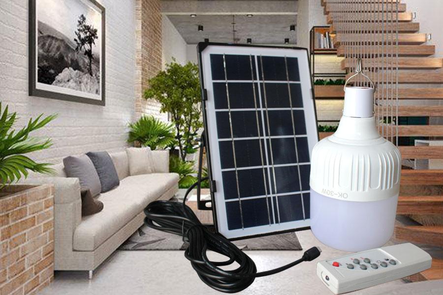 Bộ bóng bulb trắng năng lượng mặt trời sử dụng trong nhà 30w