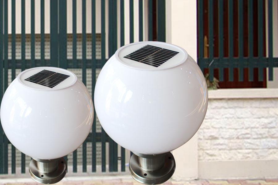 Đèn trụ cổng tròn sử dụng năng lượng mặt trời