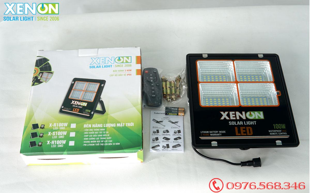 Đèn pha Xenon X100W viền cam năng lượng mặt trời